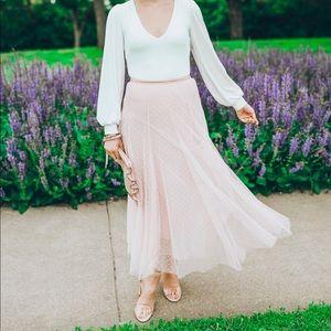Chicwish Skirts - Chicwish Blush Polka Dot Tulle Midi Skirt